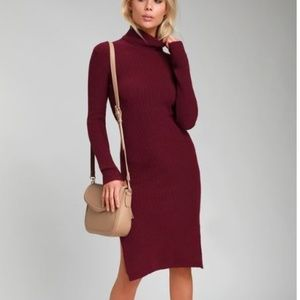 c5eb2360e4 ... SHEERAH BURGUNDY TURTLENECK MIDI SWEATER DRESS ...